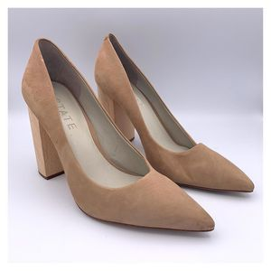 1. State Valencia Leather Wooden Block Heel Pumps